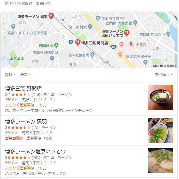 Googleマイビジネス 検索結果